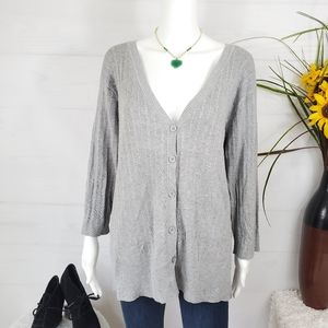 Isabella Rodriguez cable knit v button neck cardi